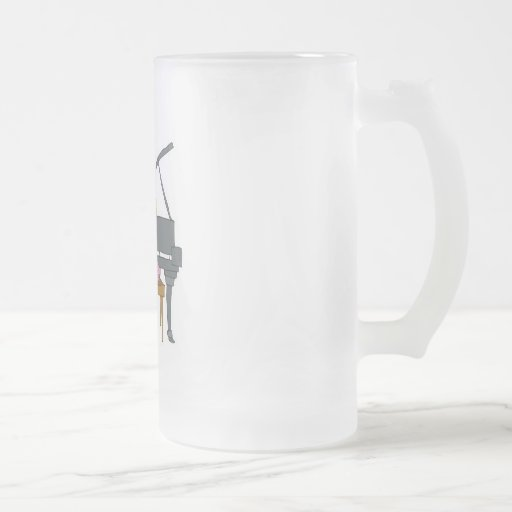 little girl playing piano 16 oz frosted glass beer mug