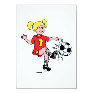 Little Girl Playing Soccer 13 Cm X 18 Cm Invitation Card