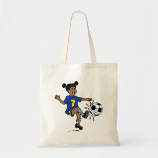 Little Girl Playing Soccer Budget Tote Bag