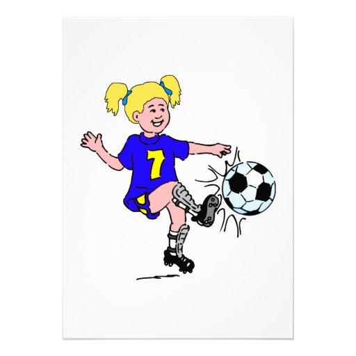 Little Girl Playing Soccer Invitation