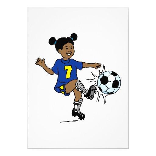 Little Girl Playing Soccer Invite