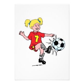 Little Girl Playing Soccer Custom Invitation