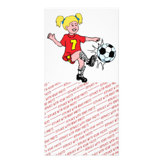 Little Girl Playing Soccer Photo Card