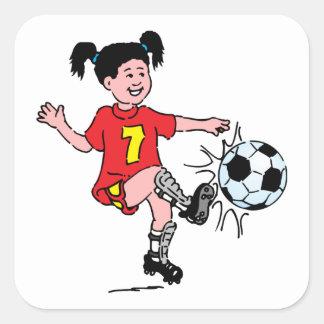 Little Girl Playing Soccer Sticker