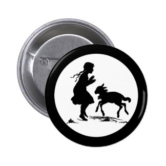 Little Girl Plays with Lamb 6 Cm Round Badge