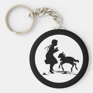 Little Girl Plays with Lamb Basic Round Button Key Ring