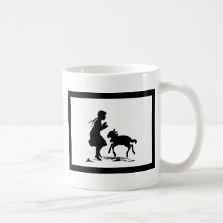 Little Girl Plays with Lamb Basic White Mug