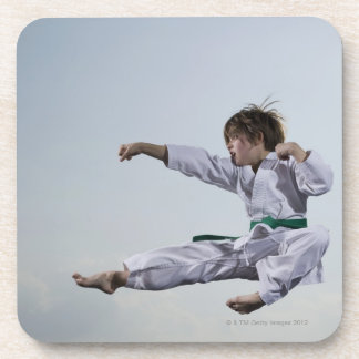 Little girl practicing karate coaster