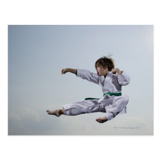 Little girl practicing karate postcard