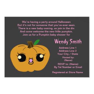 Little Girl Pumpkin Baby Shower Invitation Cards