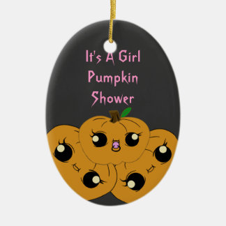 Little Girl Pumpkin Baby Shower Ornaments