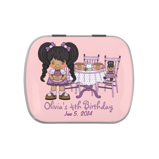 Little Girl Purple Tea Party Candy Favor Jelly Belly Tin