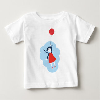 Little Girl & Red Balloon Cute Graphic Tee