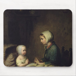 Little Girl Saying Her Prayers in Bed Mouse Mat
