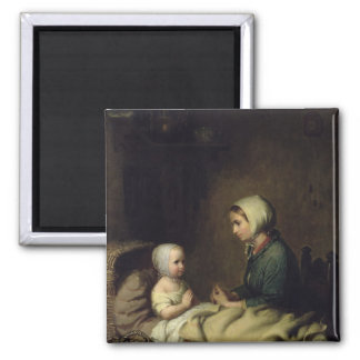 Little Girl Saying Her Prayers in Bed Square Magnet