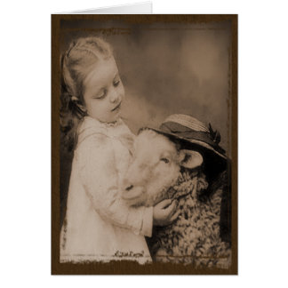 Little Girl & Sheep- Prim Lil Note Cards