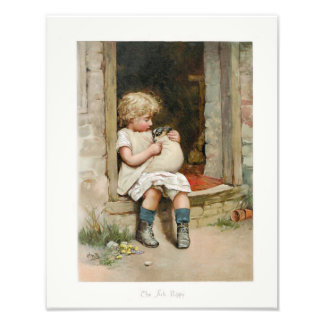 Little Girl Sitting on a Stoop Holding Sick Puppy Photo Print