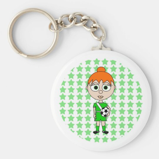 Little Girl Soccer Star Green Red Hair Basic Round Button Key Ring