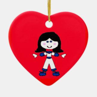 Little Girl Stick Family Ceramic Heart Decoration