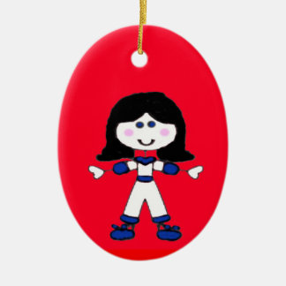 Little Girl Stick Family Christmas Ornament