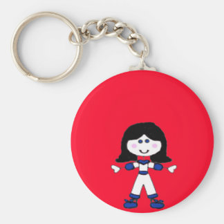 Little Girl Stick Family Keychain
