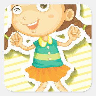 Little girl square sticker