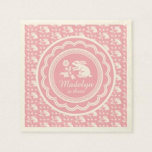 Little Girl Third Birthday Cute Pink Bunny Rabbit Paper Napkin