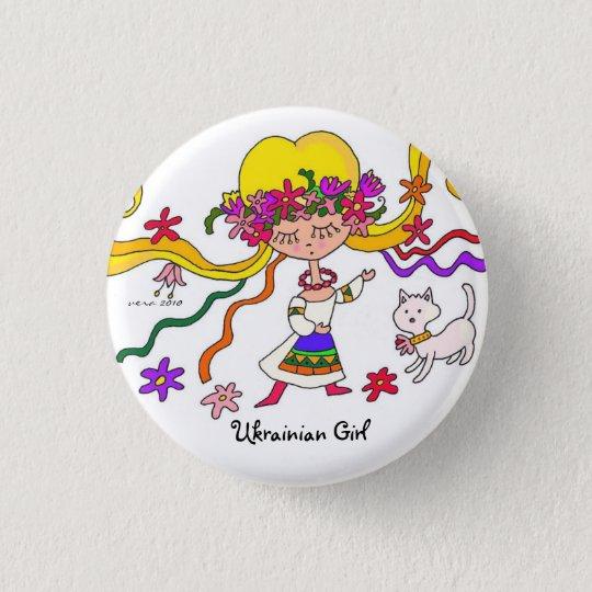Little Girl Ukrainian Folk Art by Vera Trembach 3 Cm Round Badge
