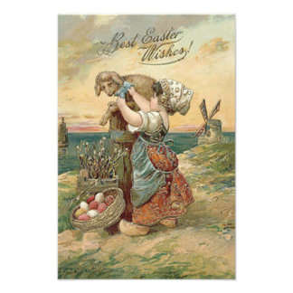 Little Girl Windmill Easter Egg Lamb Photographic Print