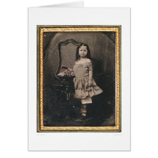 Little girl with a basket of flowers (40319) card