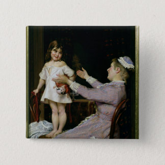 Little Girl with a Doll and Her Nurse, 1896 15 Cm Square Badge