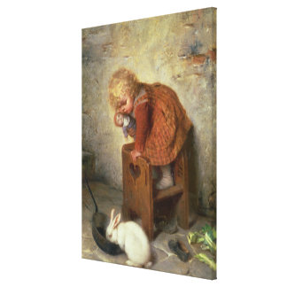 Little Girl with a Rabbit Canvas Print