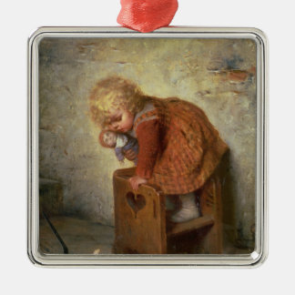 Little Girl with a Rabbit Christmas Ornament