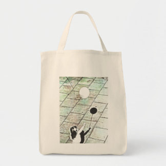 Little girl with balloon tote bag