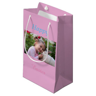 Little Girl with bunny  - add photo Small Gift Bag
