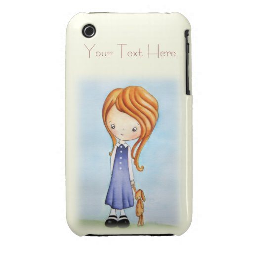 Little Girl with Bunny Plush Friend iPhone 3 Case