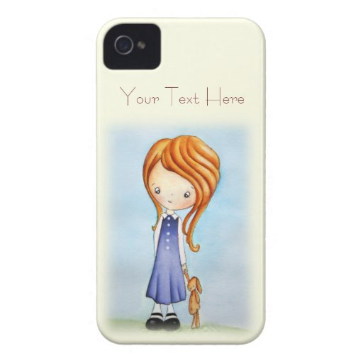 Little Girl with Bunny Plush Friend iPhone 4 Case