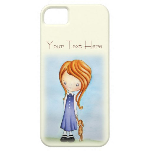 Little Girl with Bunny Plush Friend iPhone 5 Case