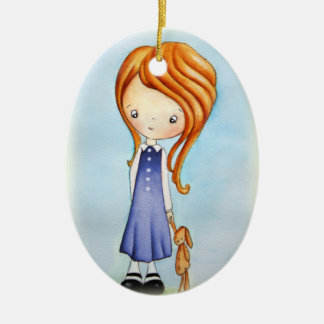 Little Girl with Bunny Plush Friend Ornament