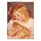 Little Girl with Cat Greeting Card