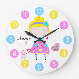 Little girl with cute cat multicolored large clock