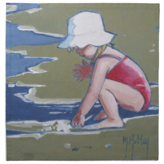 Little girl with hat on beach with waves printed napkin