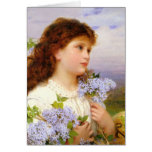 Little Girl with Lilac Bouquet Vintage Note Card