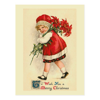 """Little Girl with Poinsettias"" Vintage Postcard"