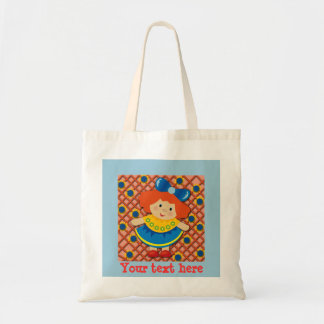 Little Girl with Red Hair on Light Blue Tote Bag