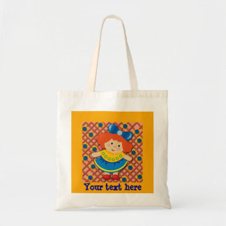 Little Girl with Red Hair on Orange Tote Bag
