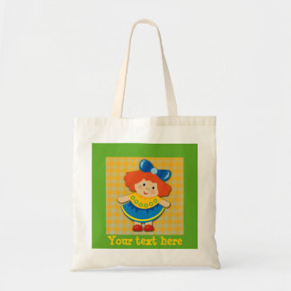 Little Girl with Red Hair on Yellow Gingham Bag