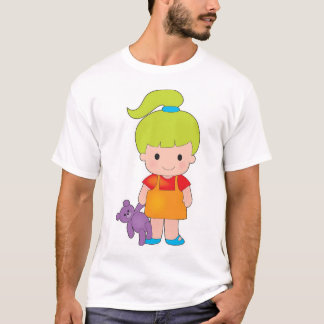 Little Girl with Teddy Bear T-Shirt
