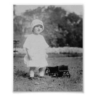 Little Girl with Toy Wagon Poster