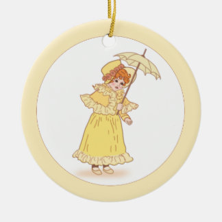 Little girl with umbrella ornament